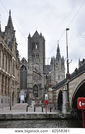 View On The Saint Bavo Cathedral From The Belfry In Ghent, Belgium