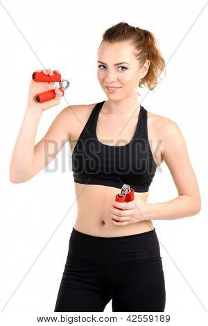 Young woman with carpal expander isolated on white