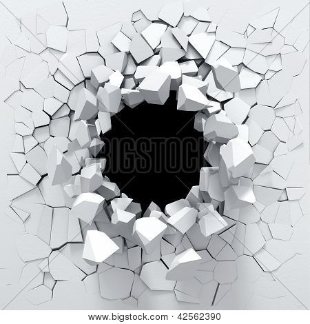 Destruction of a white wall