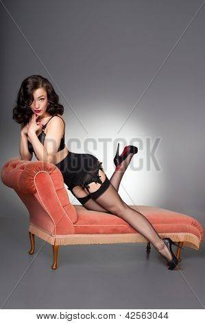 Classic fifties pinup in black lingerie