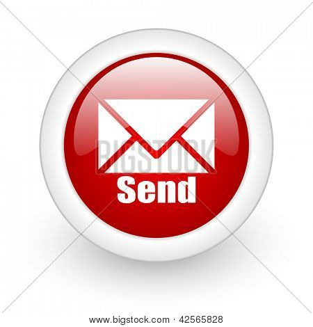 send red circle glossy web icon on white background