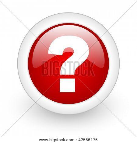 roter Kreis glänzend Web Fragezeichensymbol auf weißem Hintergrund