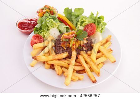 plate of french fries and beefsteak