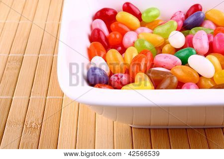 Colorful Jelly Beans In White Bowl
