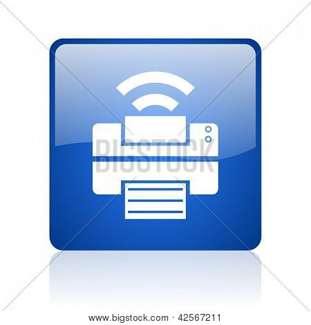 print blue square glossy web icon on white background