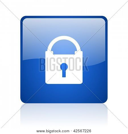 protect blue square glossy web icon on white background