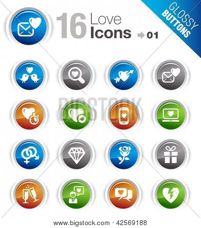 Glossy Buttons - Love and Dating icons