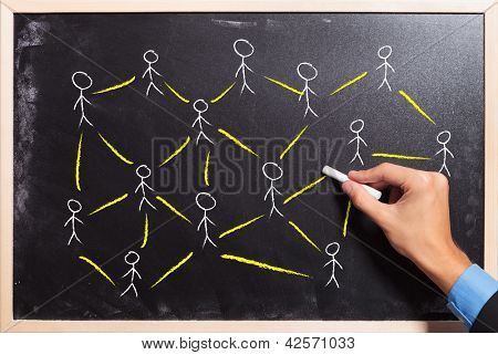 male hand drawing on a blackboard: social networking or teamwork concept