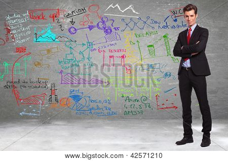 conident business standing in front of a wall full of calculations and diagrams