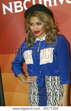 "PASADENA, CA - JAN. 7: Vanessa White of ""The Saturdays"" arrives at the NBCUniversal 2013 Winter Press Tour at Langham Huntington Hotel & Spa on January 7, 2013 in Pasadena, California"