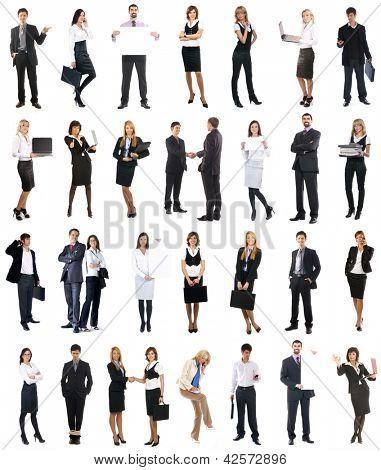Conjunto de empresarios aislados en blanco