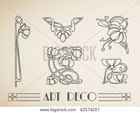 Vector art deco flower pattern ornament