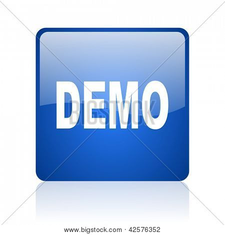 demo blue square glossy web icon on white background