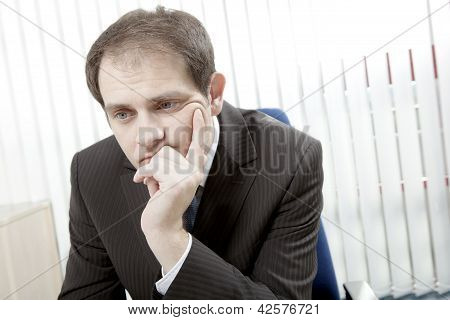 Depressed Businessman Thinking