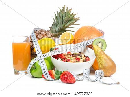 Diet Weight Loss Breakfast Concept With Tape Measure