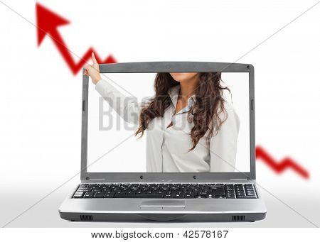 Woman reaching out from laptop to present red growth arrow on white background