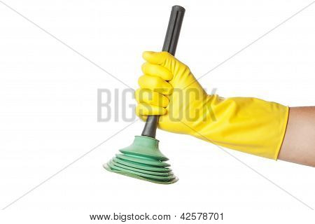 Hand In A Gauntlet Holdin Gplunger.