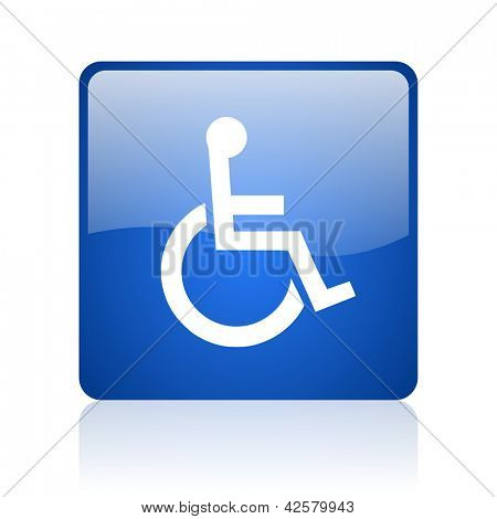accessibility blue square glossy web icon on white background