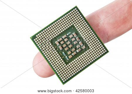 Microprocessor The Finger. On A White Background.