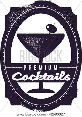 Premium Cocktails Vintage Graphic