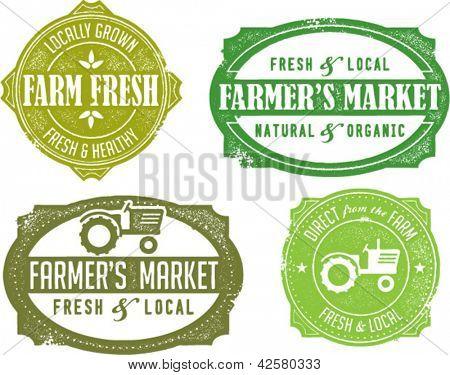 Sellos de mercado del agricultor de estilo vintage