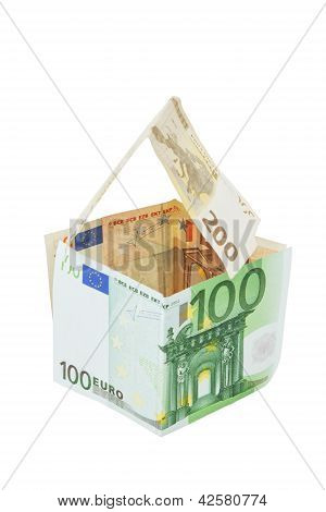House From Euro Money On White Background.