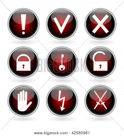 Black And Red Glossy Buttons With Security, Hazard And Warning Signs.