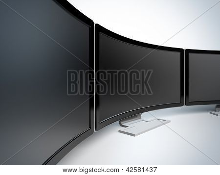 Monitors at white background. A 3d illustration blank template layout of curved wide monitors with black frame.