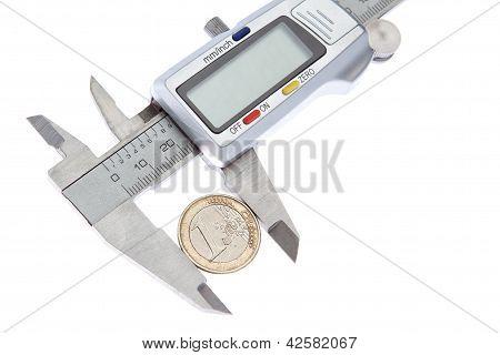 Measurement Vernier Coins Euros. On A White Background.