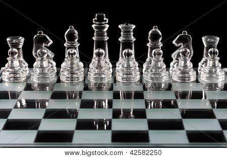 Chess Board Over Black