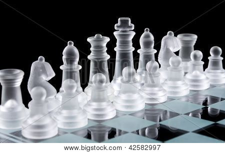 Set Of White Glass Chess Pieces