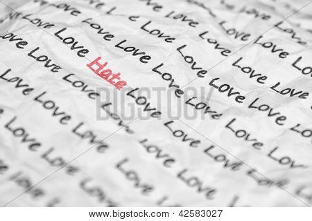 The Word Hate, Love Written On A Crumpled Piece Of Closeup.