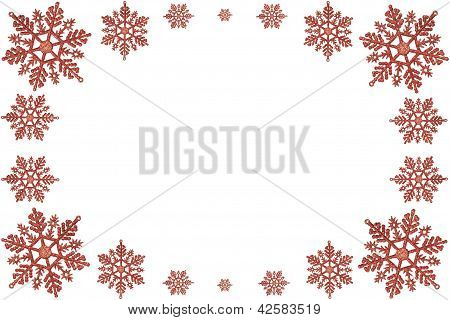 Christmas Frame Of Red Snowflakes. On A White Background.