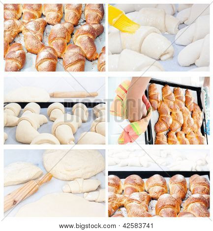 Collection Set Of Images Of Croissants Baking Pies.