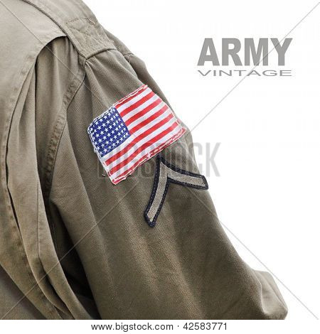 Flag patch on the american battledress (Private first class armband) from second world war. Picture with space for your text.