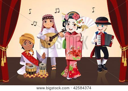Multi-ethnic Kids Performing