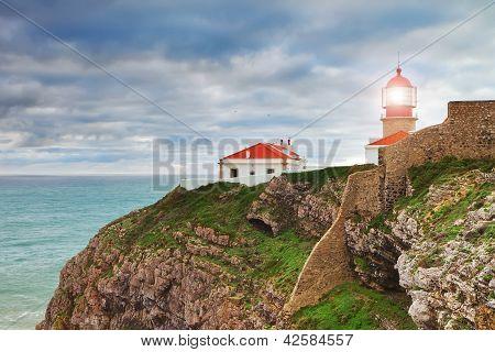 Historic Lighthouse At Cape Sea. Portugal.