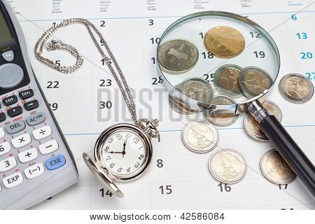Business Calendar, Pocket Watch.