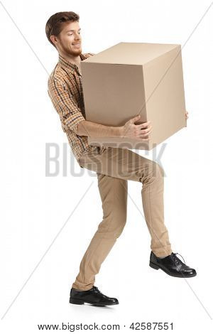 Deliveryman hardly carries the parcel, isolated, white background