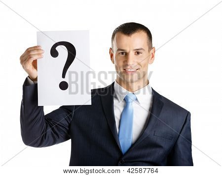 Business man hands paper with question mark, isolated on white