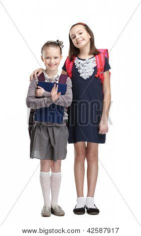 Two classmates are happy to start new year of study, isolated, white background
