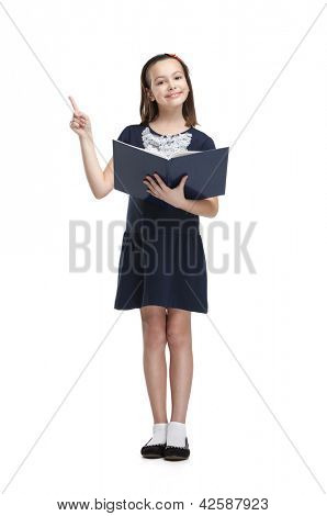 Schoolgirl with opened book smiles, isolated, white background