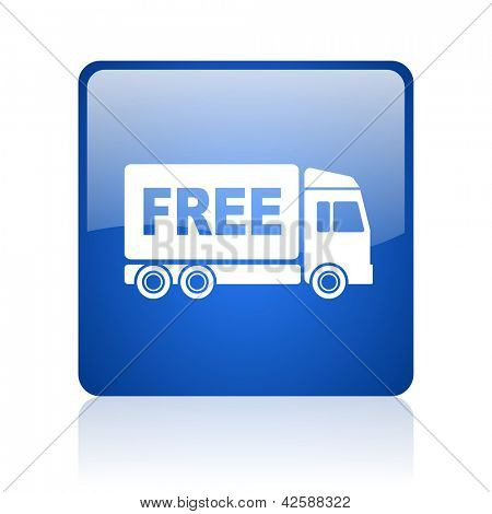 free delivery blue square glossy web icon on white background