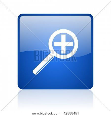 magnification blue square glossy web icon on white background