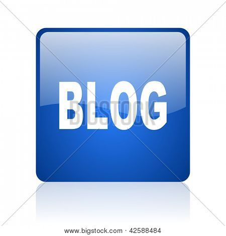 blog blue square glossy web icon on white background