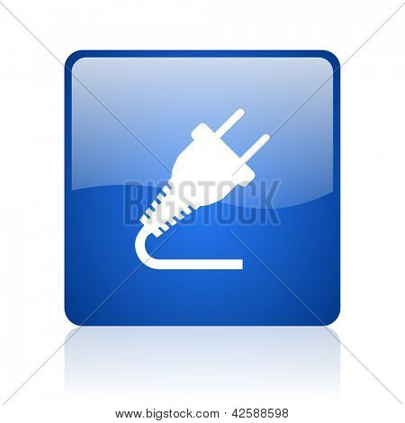 plug blue square glossy web icon on white background