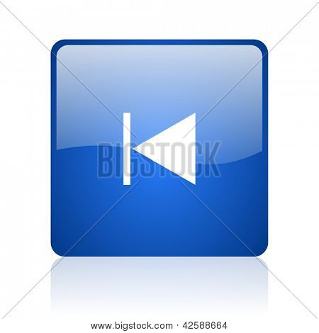 prev blue square glossy web icon on white background