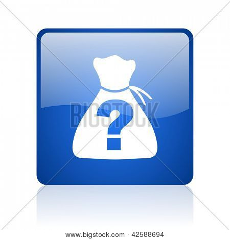 riddle blue square glossy web icon on white background