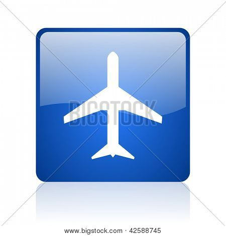 airplane blue square glossy web icon on white background