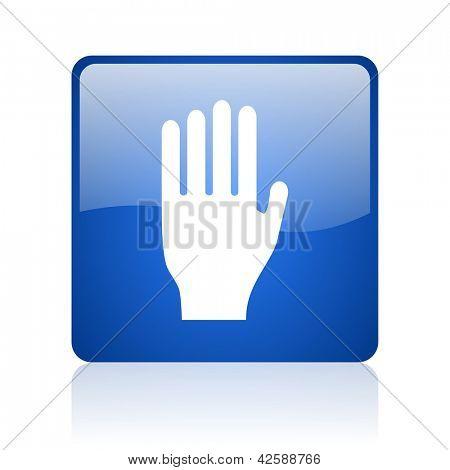 parar o ícone web quadrado brilhante azul sobre fundo branco